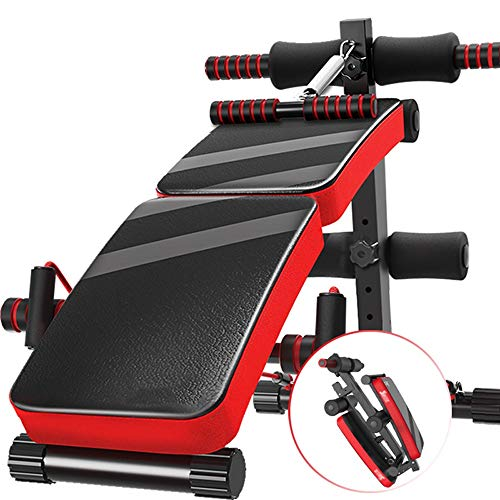 LAZ Verstellbare Bank, verstellbare Hantelbank Old Klappbare Steigung für Heim-Fitnessstudio mit Rudergerät (Farbe : Rot)