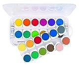 Großer Tuschkasten für Kinder mit 24 Wasserfarben und inkl. 1 Pinsel und 2 Deckweisstuben, geeignet zum Malen und Basteln