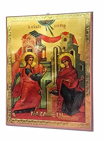 Verkündigung der seligen Maria Russische Ikone Plaque gesegnet Jerusalem Souvenir 7.5