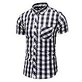 Berimaterry Camisa Franela de Cuadros Manga Corta para Hombre Camisa Mangas Largas Hombre Primavera Polo a Rayas para Hombre Camisetas Hombre,Hombres Camisetas de Músculo,Slim Fit Camiseta