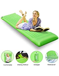 ESEYE Esterilla Acampada Hinchable Ultra Ligera, Portátil Impermeable Colchonetas de Camping Durable Cómodo Dormir Pad