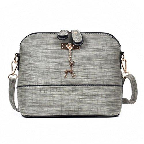 Moonuy,Frauen Leder Handtasche, Messenger Bags Vintage kleine Shell Leder Handtasche Lässig Paket Solid Color Messenger Bags (Grau)