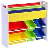 Songmics Kinderregal Kinderzimmerregal Bücherregal Aufbewahrungsregal mit Kippschutz 6 Kästen aus Kunststoff pflegeleicht GKR03W