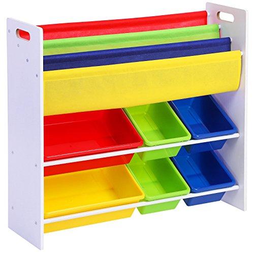 Songmics Kinderregal Kinderzimmerregal Bücherregal Aufbewahrungsregal mit Kippschutz 6 Kästen aus Kunststoff pflegeleicht aufbewahrung spielzeug GKR03W
