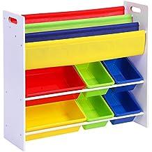 Songmics Estantería infantil para juguetes libros Librería de 3 niveles con 6 cajones 86 x 27 x 78 cm GKR03W