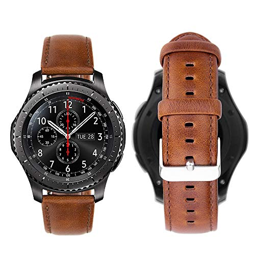 iBazal Gear S3 Armband, Gear S3 Frontier/Classic Armbänder Uhrenarmband 22mm Lederband Kompatibel mit Galaxy Watch 46mm, Huawei GT/Honor Magic/2 Classic,Ticwatch Pro Herren Uhr - Stylischer Brown