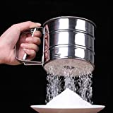 #10: AADYA High Quality Stainless Steel Mesh Flour Sifter Mechanical Baking Icing Sugar Shaker Sieve Cup Shape Bakeware Baking Pastry Tools