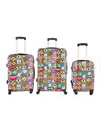 Set de 3 maletas rigidas 4 ruedas de policarbonato abs extremista ligero equipage pequeno de cabina art segnali