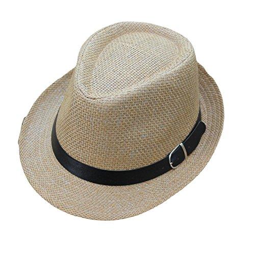 Fedora Hut für Damen und Herren Weben Panama Sonnenhut mit Sonnenschutz breite Krempe Einstellbar Band Faltbarer Strohhut Kappe Trilby Gangster Hut (Khaki)