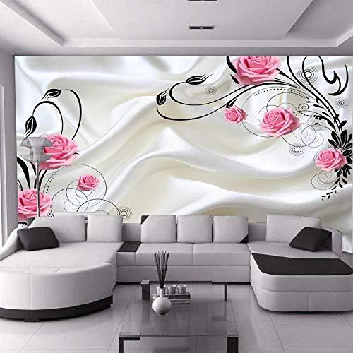 Vine Grafiken (Jfwsbz 3D Seide Tapeten Wandtattoos Wandbilder Wallpaper Wallpaper Tv Background Wall Painting Silk Pink Rose Beautiful Marriage Room Simple Flower Vine Living Room-450Cmx300Cm)