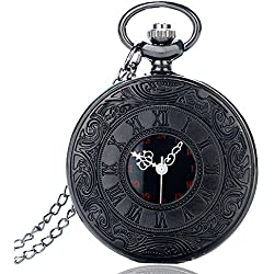 BestFire Pocket Watch Black Roman Retro Vintage Quartz Pocket Watch Roman Numerals Steampunk Fob Watch