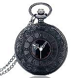 BestFire Pocket Watch Black Roman Retro Vintage Quartz Pocket Watch Roman Numerals Steampunk Fob Watch