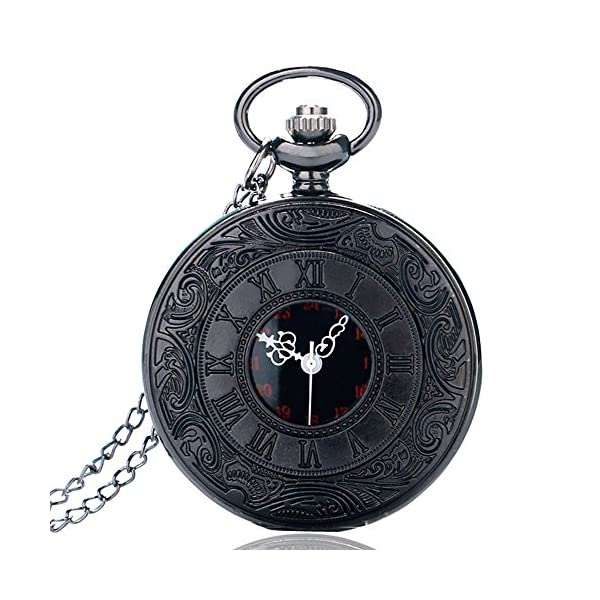 BestFire Pocket Watch Black Roman Retro Vintage Quartz Pocket Watch Roman Numerals Steampunk Fob Watch 516HbNISKQL