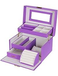 Songmics Boîte à bijoux 22,5 x 17 x 13,5 cm violet JBC114P
