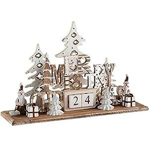 WeRChristmas Wooden Christmas Scene Advent Calendar Decoration, Wood, 21 cm - Multi-Colour