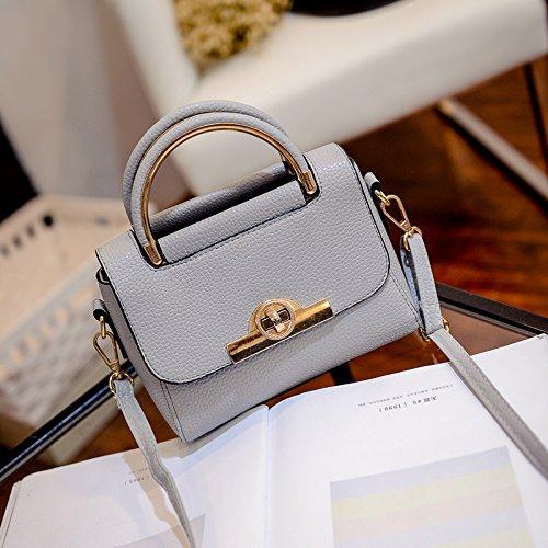 WTUS Damen neue Mode Handtaschen Handtasche Schulter Umhängetasche Schnalle Kleines Quadratisches Pakets Grau