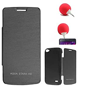 DMG Premium Diary Flip Book Cover Case for Intex Aqua Star II HD (Black) + 3.5mm Audio Dock Sponge Speaker