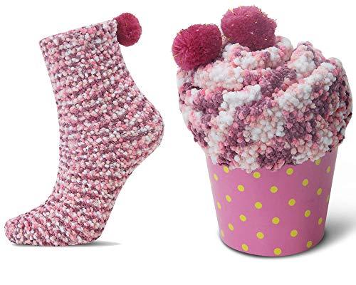 2 Caja Regalo Navidad Calcetines Dia de san Valentin Super Suaves Cómodos Calentar Mujer DIY (2 Rosa, EU 36-42)