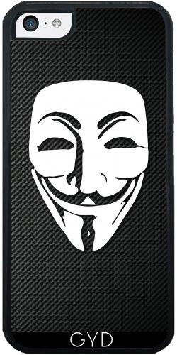 Leder Flip Case Tasche Hülle für Apple iPhone 6/6S - Anonymous Kohlefaser by Spycker Silicone