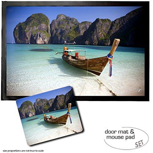 Set: 1 Fußmatte Türmatte (60x40 cm) + 1 Mauspad (23x19 cm) - Strände, Maya Bay, KOH Phi Phi Ley, Thailand II 19 X Bay
