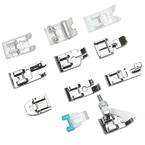 JZK 11 Piezas prensatelas accesorios para máquina coser con caja almacenamiento para la máquina coser Cantante Hermano Janome Toyota Elna Pfaff AEG