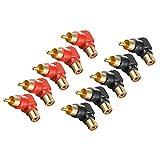 Dolity Right Angled RCA Adapter 90 Grad Cinch-Stecker zu Cinch-Buchse Verbinder Winkelstecker - 5 Stück ( Rot) + 5 Stück (Schwarz)