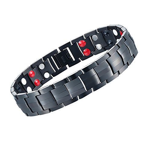 Terapia braccialetto magnetico in titanio, sollievo dal dolore da artrite e tunnel carpale con doppia fila 4-element nero, by BLU7IVE