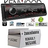 Renault Megane & Scenic 1 - Autoradio Radio Kenwood KMM-204 - MP3   USB   iPhone - Android - Einbauzubehör - Einbauset