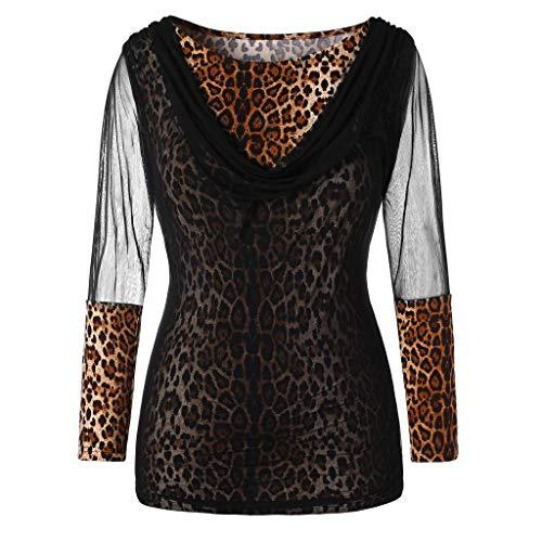 IZHH Mode Damen Shirt, Leopard Print Shirt Langarm Spitze Mesh V Ausschnitt  LäSsig Atmungsaktiv Und Bequem Tunika Blusen Tops (Gelb,XL) 3b25aa1bb5