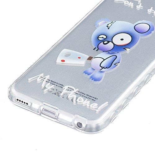 Ooboom® iPhone 8 Plus/iPhone 7 Plus Coque TPU Silicone Gel Housse Étui Cover Case Pare-chocs Souple Anti-glisse Ultra Mince pour iPhone 8 Plus/iPhone 7 Plus - Fleur de Pêche Ours