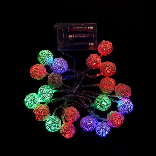 Heavy-duty-licht-timer (efanr 20Rattan Kugeln LED-Licht Lichterkette Lampe Weihnachten Hochzeit Decor Ambient Beleuchtung Party Nacht Romantische Laterne Ornament für Patio Outdoor Urlaub bunt)