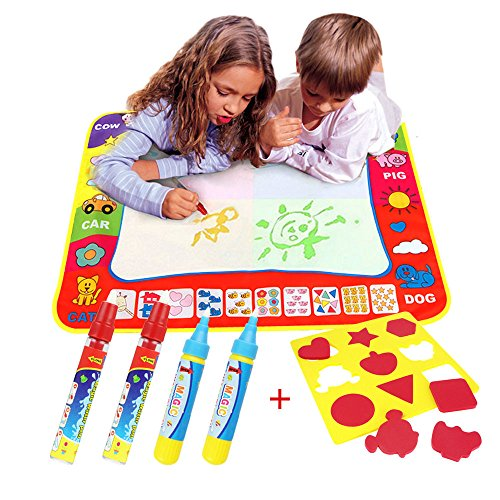 Magic doodle Mat/Water Drawing Painting Mat(31.4in x 23.6in)with 4 Color,CJbrother Water Drawing Mat Child Painting Play Learning Magic Water Doodle Painting Pen With 4 Doodle Painting Pens and 1 EVA Graphic