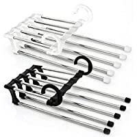 yangGradel Trouser Hanger, Pants Rack Shelves 5 in 1 Multifunctional Storage Trousers Hangers Space Saving 2 Pcs