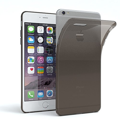 EAZY CASE Apple iPhone 6 Plus / 6S Plus Schutzhülle Silikon, Ultra dünn Slimcover, Handyhülle, Silikonhülle, Backcover, Transparent/Durchsichtig, Anthrazit