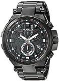Akribos XXIV Hommes de montre à quartz avec affichage analogique et bracelet en acier inoxydable Noir Cadran Noir ak861bk