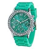 Best Times Uhr Damen-Armanduhr Quarz Chrono Look Kristall Lünette Silikonarmband grün