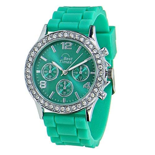 Times Uhr Damen-Armanduhr Quarz Chrono Look Kristall Lünette Silikonarmband grün