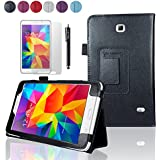 "SAVFY Samsung Galaxy Tab 4 7.0 7-inch PU Leather Case Cover and Flip Stand , Bonus: + Screen Protector + Stylus Pen + SAVFY Cleaning Cloth (for Galaxy Tab 4 7"" INCH T230/T231/T235, WiFi or 3G+WiFi) (flip stand BLACK)"