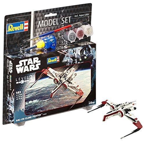 Revell Revell-ARC-170 Star Wars Set ARC-170 Fighter, en Kit Modelo con Base Accesorios, fácil Pegar y para pintarlas, Escala 1:83 (63608), 10,0 cm de Largo