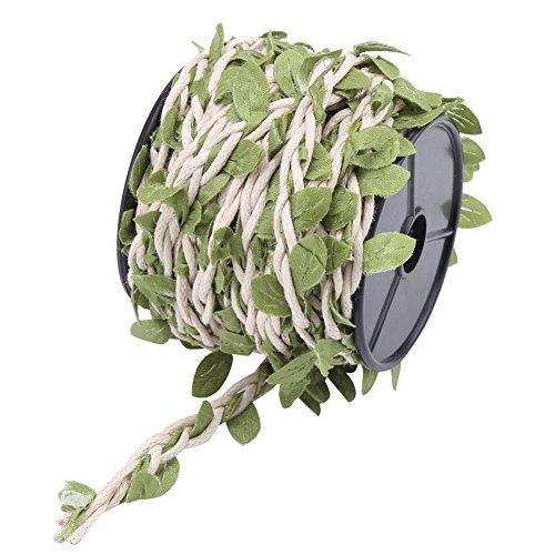10M Künstliches Blätter Hanfseil Wachsfaden Rattan Dekomaterial Seil Simulation 5mm Natürliches Jutefaser Schnur Blatt Band Strickseil(White Wax Rope) -