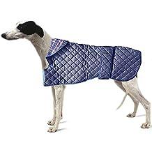 "Con forma de perro abrigo para perro. Whippets & Greyhound. Ligero Azul Acolchado. Gran Whippet. Longitud 20""/51cm"