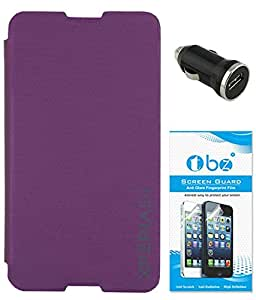 TBZ Flip Cover Case for Sony Xperia E4 with Car Charger and Screen Guard -Purple
