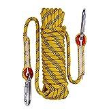 Kletterseil,Durchmesser 12mm,63 Kernseile Outdoor-Klettern Seil 10M (32ft) 20M (64ft) 30M (96ft) 50M (160ft) 20.6KN Klettern Seil 2 Haken für Feuerrettung, Eisklettern Ausrüstung Feuer-Rettung Fallschirm-Seil-Bergsteigen (yellow, 50m)
