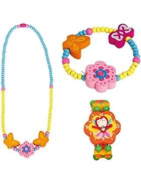 3 tlg. Set Mädchenschmuck Motiv Blume Rosa - Halskette Armband und Holzuhr - VERSANDKOSTENFREI nach BRD