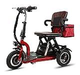 CYGGL Mini Tricycle électrique Vieux Scooter Pliant Voiture électrique Adulte handicapé Voiture 350W Puissance Moteur Poids 26KG -3 Changement de Vitesse - kilométrage Maximum 30Km
