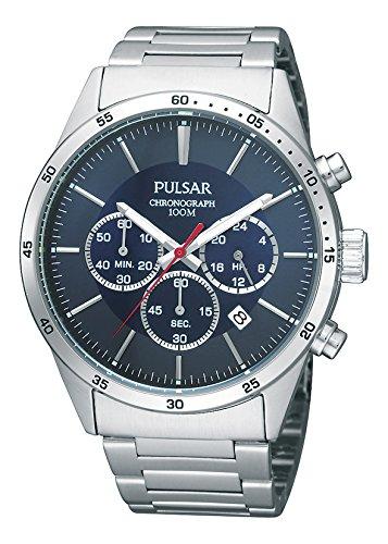 Pulsar Herren Chronograph Quarz Uhr mit Edelstahl Armband PT3003X1