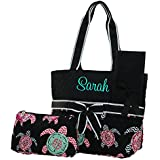 Personalized Monogrammed Toddlers Black Diaper Bag With Turtle Print 3 Piece Set Diaper Bag | Changing Pad And Accessories Bag Personalize With Order