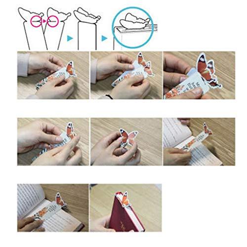 Busirde 5Pcs reizender Schmetterling Lesezeichen Cartoon Buch Schmetterling Lesezeichen, Comic-Buch-Kennzeichen Papierklammer Büroschulmaterial
