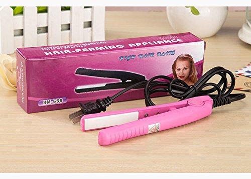 2-en-1 redresseur tordu en céramique tordu facile à contrôler et bigoudi de cheveux pour le chauffage rapide pour créer les cheveux lisses et brillants,Pink
