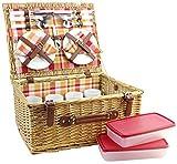 HappyPicnic Willow Picnic Hamper para 4 personas con tazas grandes de cerámica, cesta de picnic de mimbre natural con forro de cheque rojo, set de picnic de sauce(cheque rojo)
